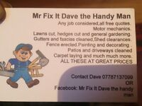 Mr fix it Dave the handyman gardening ect
