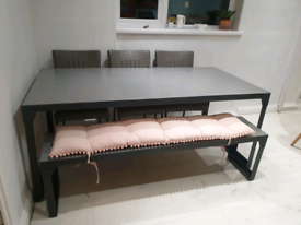 Industrial style table bench and 3 chairs