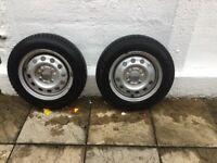 Pair of wheels.