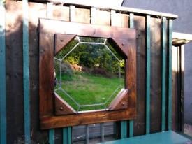 Oak framed-leaded mirror glass.handmade.