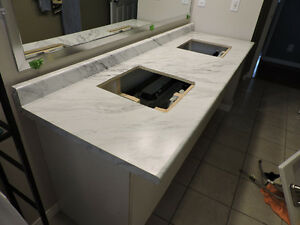 brand new countertop with two sink holes pre-cut