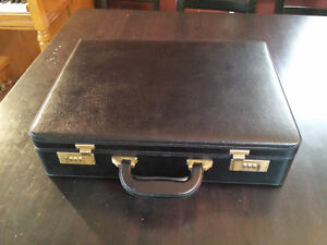 Black Leather Lockable Briefcase - NEW in Box, Never Used