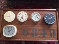 Vintage retro wall clocks x5 display/shop