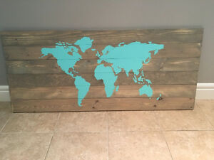 "Map of the world painted on pine wood planks. 21""by48"""