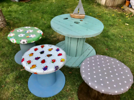 Cable reel tables and stools