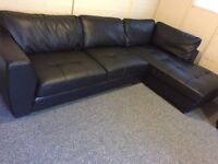Beautiful modern black leather large corner sofa - 10ft x 6ft - can deliver