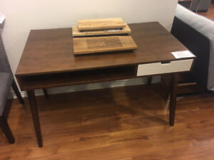 compact mid century modern writing desk solid wood