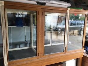 Vintage Hardwood and Glass Display Cabinet with Stand