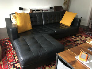 Black Leather Couch and Ottoman