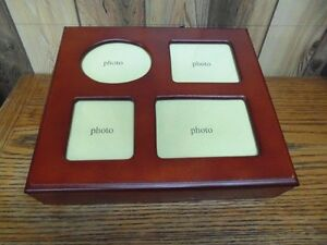 Stained Wooden Box With Photo Inserts