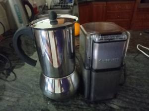 Stove top coffee percolator and Cuisinart coffee grinder