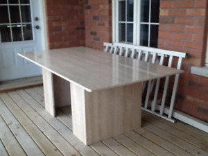 Italian Travertine Dining Room Table