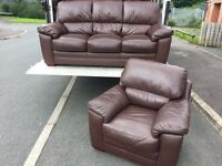 REIDS 3 & 1 LUXURY FULL LEATHER SOFA SET - MINT CONDITION