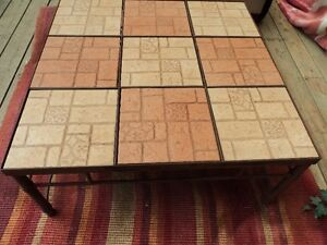 rustic iron base with removable tile top coffee table