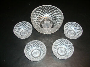 24%  Heavy Lead Crystal Bowl 5 piece Serving Set