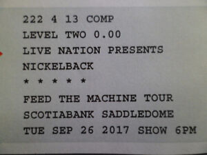 two tickets to nickleback   FEED THE MACHINE TOUR   in calgary.