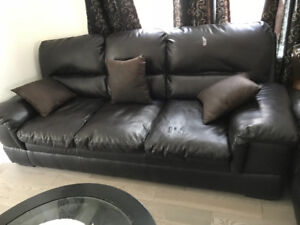 Leather Sofa 3 +2 seater black used with few scratches good cond