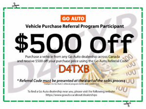 $500 Off Vehicle Purchase With GO AUTO Referral Code