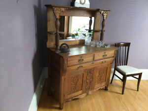 Late Victorian (?) Oak Sideboard with Mirror