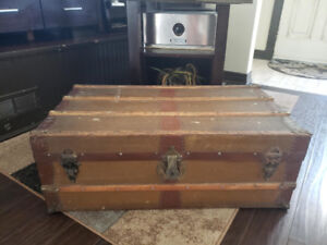 Antique Wood Steamer Travel Trunk - both handles intact!