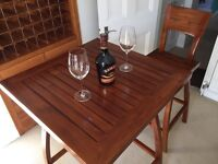 Classic Indonesian Bar table and 2 swivel chairs