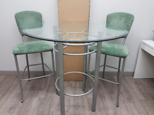 Glass pub style table and chairs