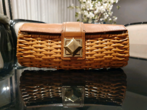 Michael Kors Straw & Leather Clutch St Johns Park Fairfield Area Preview