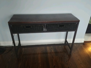Sideboard/table with wicker drawers