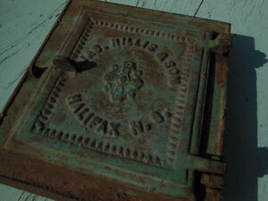 Rare Cast Iron Fireplace Door, Jas. Hillis & Son, Halifax NS