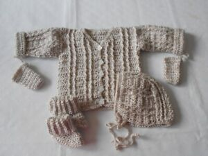 BRAND NEW HAND CROCHETED 3pc AND 4pc BABY SWEATER SETS