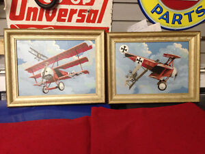 2 RED BARON AIRPLANE PAINTINGS - PARKER PICKERS -