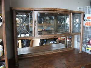 OLD OAK SIDEBOARD With LEADED GLASS
