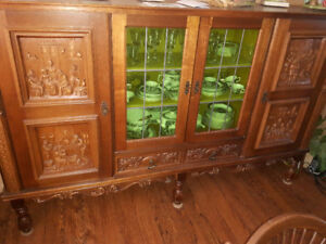 Antique European china cabinet and liquor cabinet