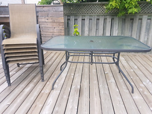 Table and Chairs with Glass top