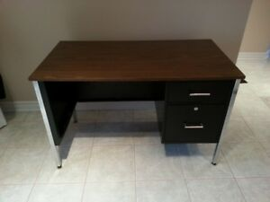 "Metal Desk (24""X45"") has 2 locked drawers with key"