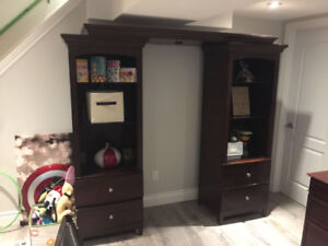 Solid Wood Entertainment Unit w/ Built in Lighting