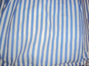 Blue and white striped queen size dust ruffle for bed