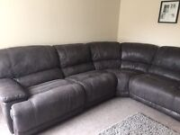 Corner sofa with two recliners matching chair with recliner