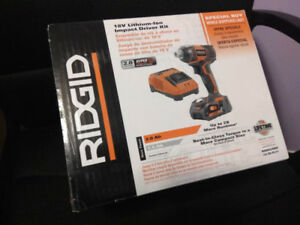 RIDGID 18V impact driver kit, NIB. Lifetime battery replacement!