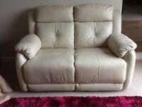 Harvey's Cream Leather Recliner Sofa