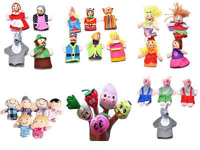 4/6/10Pcs Family Finger Puppets Cloth Doll Educational Hand Cartoon Animals ToHK - Animal Finger Family