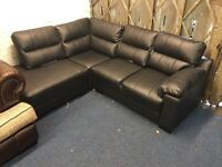 Black leather L shape corner sofa left hand side chaise end one arm