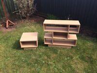 Beech shelf unit and table set cube effect