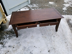 Dark brown coffee table. With storage drawers from both side