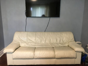 White Leather Couch - Clean