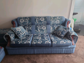 Traditional 3 seater + 2 seater fabric sofas