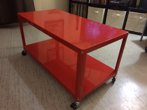 Rolling metal coffee table