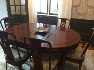 Solid Rosewood Dining Set with 6 Carved Chairs