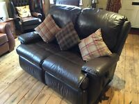 2-seater brown leather electric reclining sofa - G Plan
