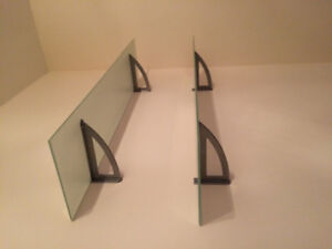 IKEA large frosted glass shelves and powder coated metal hardwar